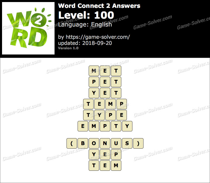 Word Connect 2 Level 100 Answers