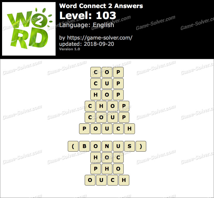 Word Connect 2 Level 103 Answers