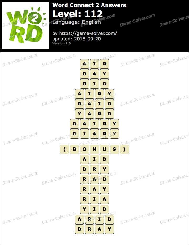 Word Connect 2 Level 112 Answers