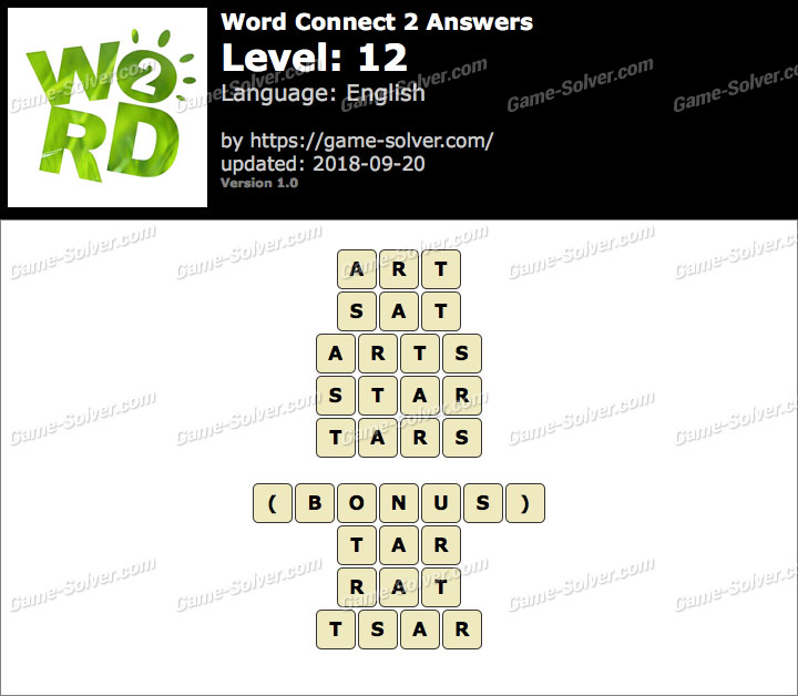 Word Connect 2 Level 12 Answers