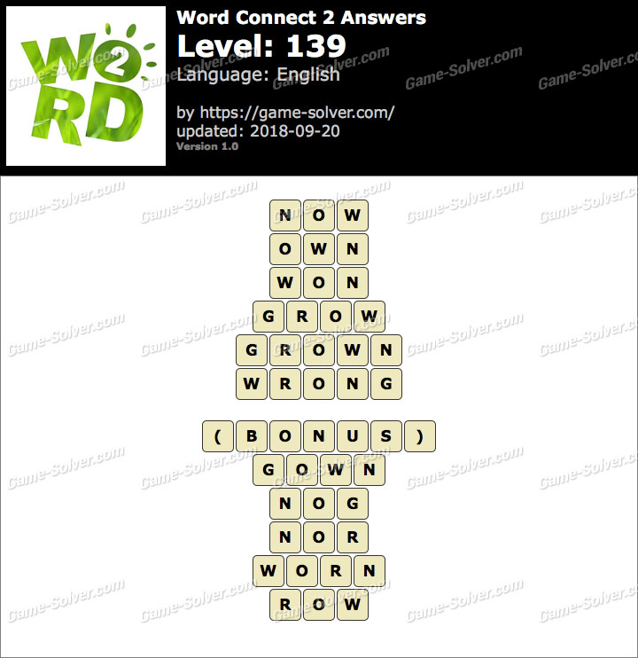 Word Connect 2 Level 139 Answers