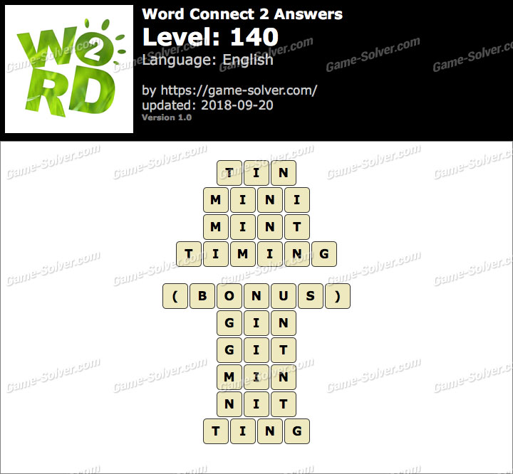 Word Connect 2 Level 140 Answers