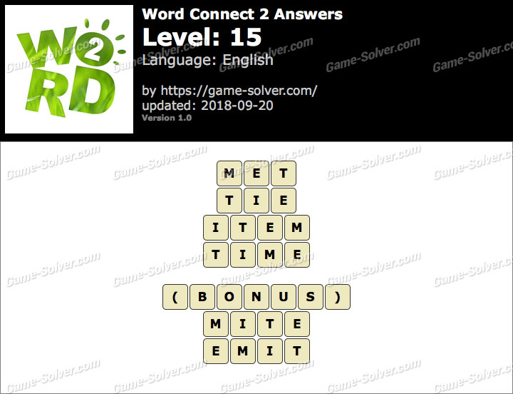 Word Connect 2 Level 15 Answers