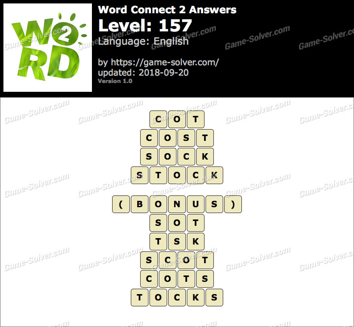 Word Connect 2 Level 157 Answers