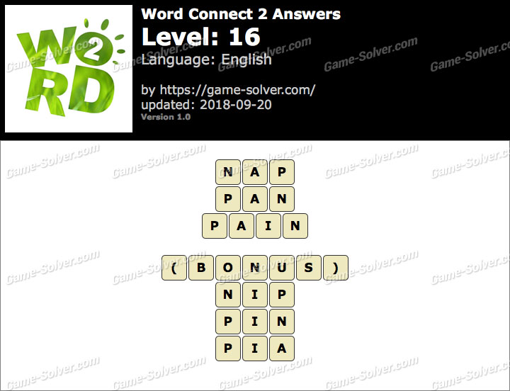 Word Connect 2 Level 16 Answers