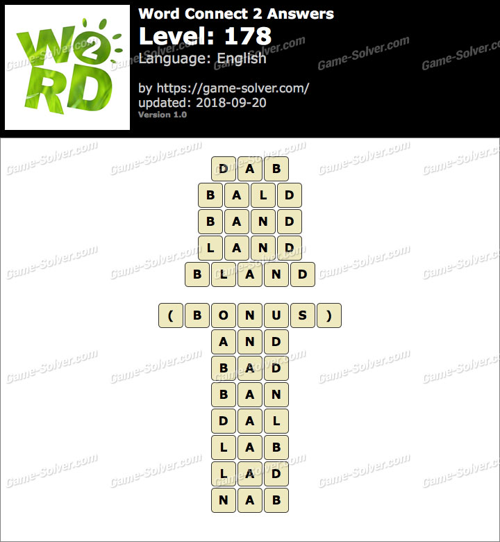 Word Connect 2 Level 178 Answers