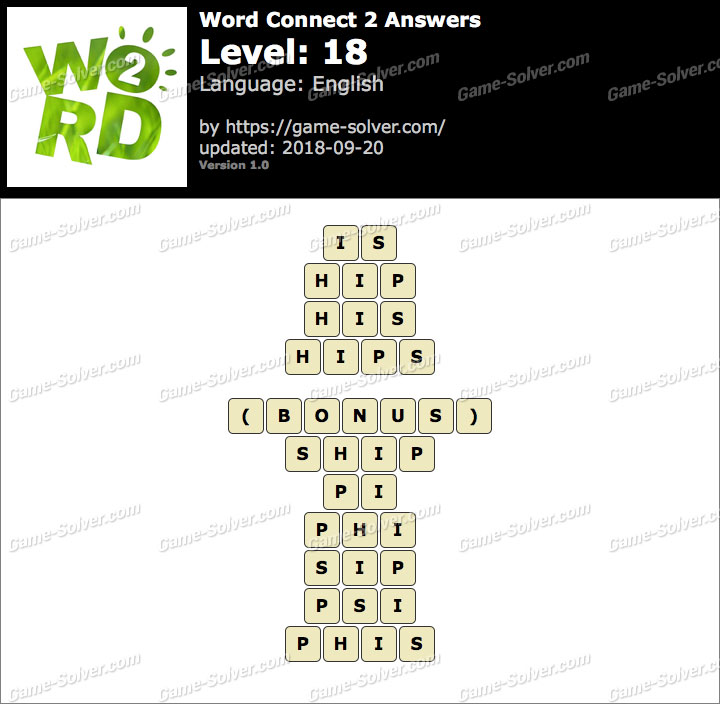 Word Connect 2 Level 18 Answers