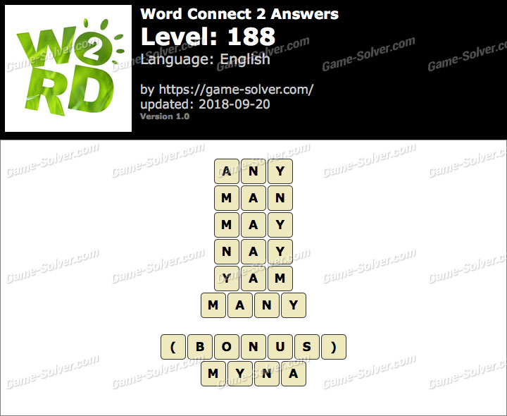Word Connect 2 Level 188 Answers