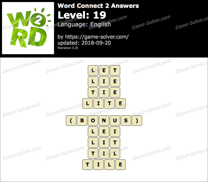Word Connect 2 Level 19 Answers