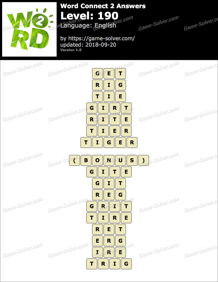 Word Connect 2 Level 190 Answers