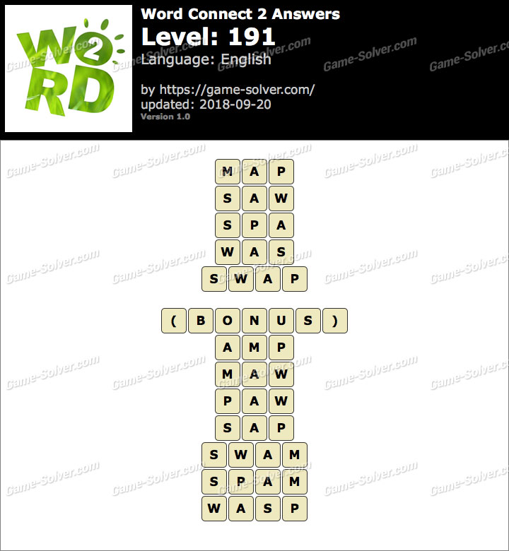 Word Connect 2 Level 191 Answers