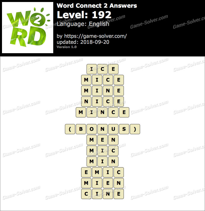 Word Connect 2 Level 192 Answers