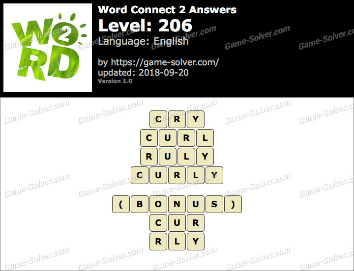 Word Connect 2 Level 206 Answers