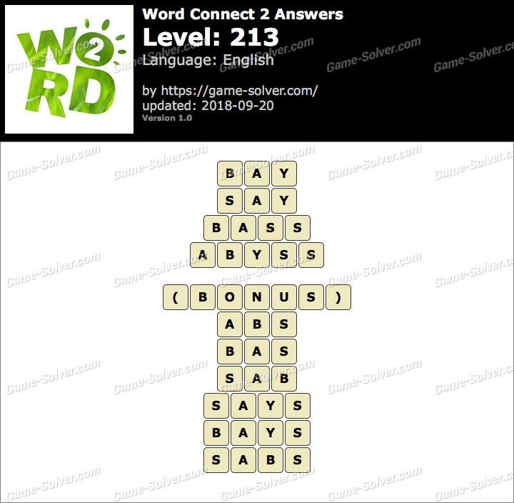 Word Connect 2 Level 213 Answers