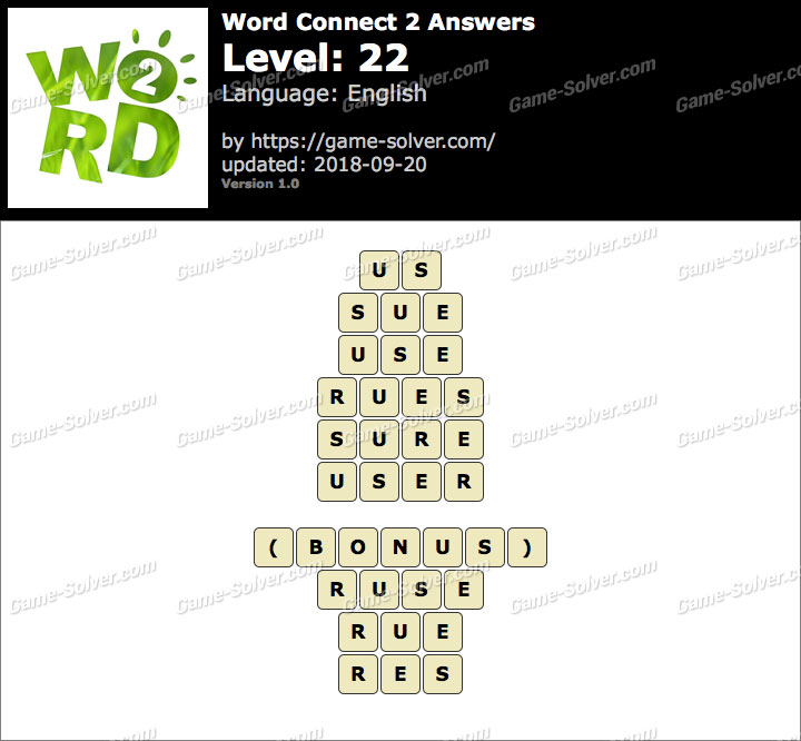 Word Connect 2 Level 22 Answers