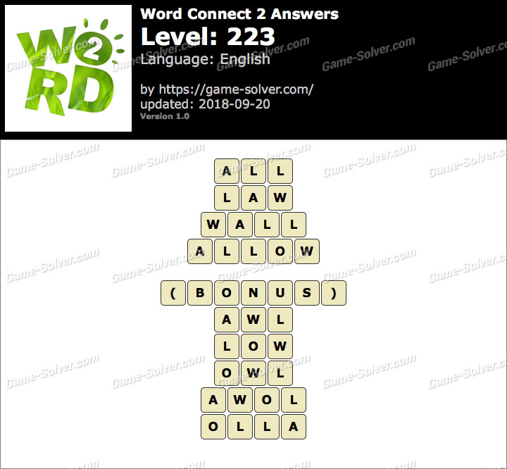 Word Connect 2 Level 223 Answers
