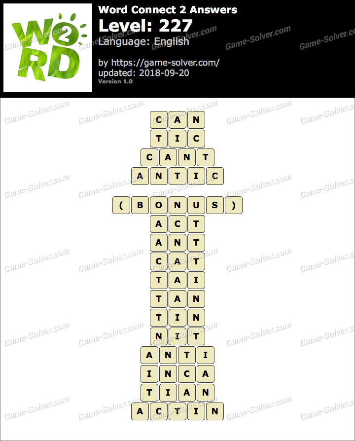 Word Connect 2 Level 227 Answers