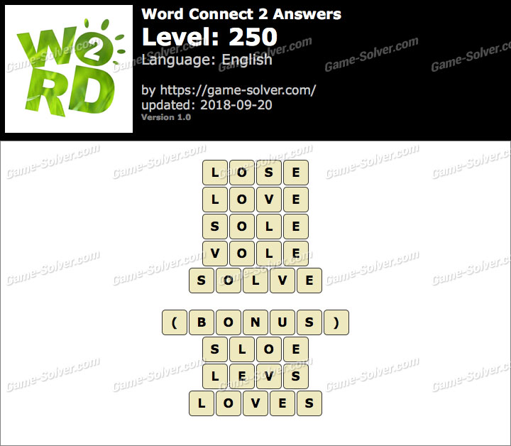 Word Connect 2 Level 250 Answers