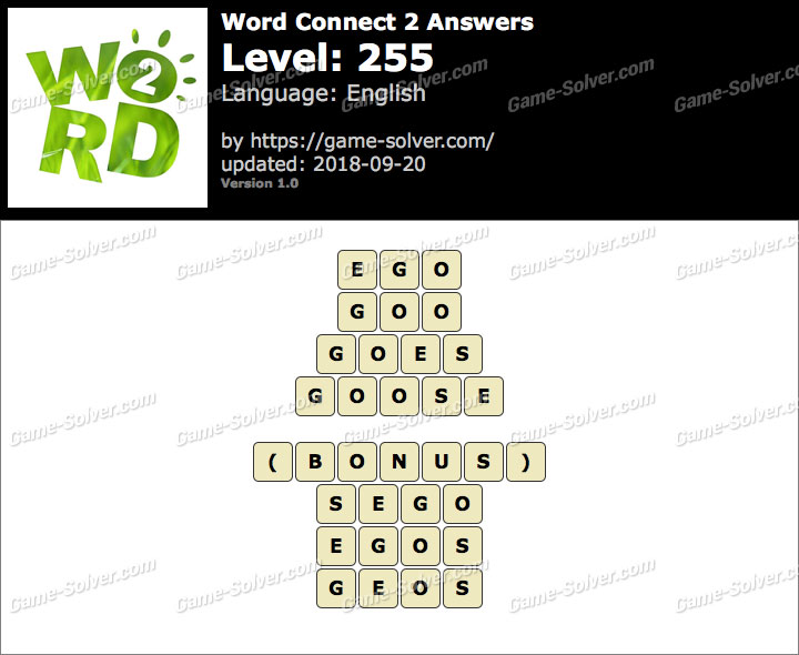 Word Connect 2 Level 255 Answers
