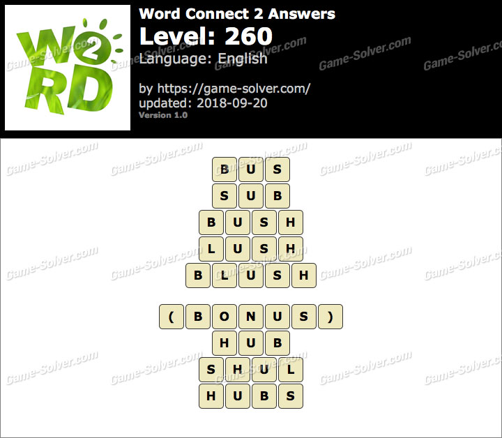 Word Connect 2 Level 260 Answers
