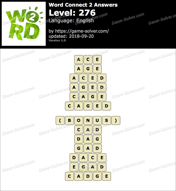 Word Connect 2 Level 276 Answers