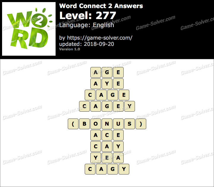 Word Connect 2 Level 277 Answers