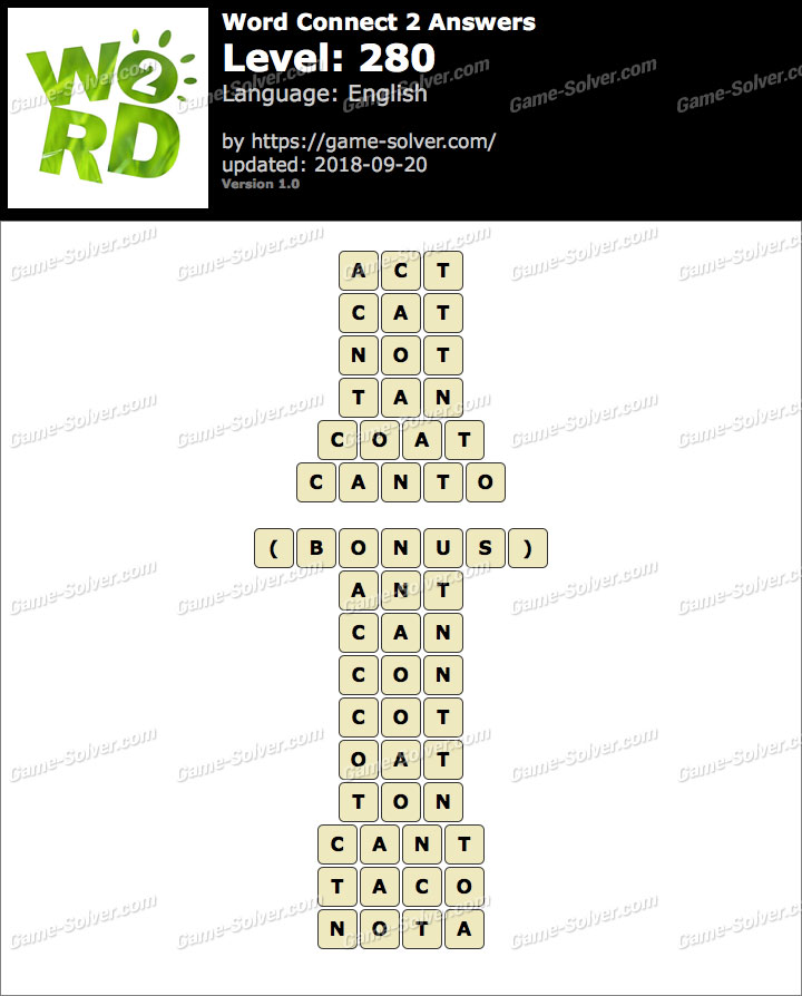 Word Connect 2 Level 280 Answers