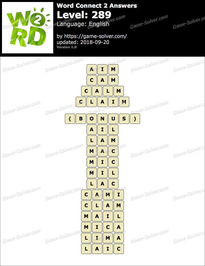 Word Connect 2 Level 289 Answers