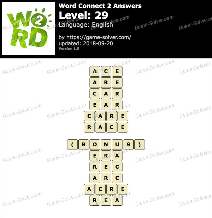 Word Connect 2 Level 29 Answers
