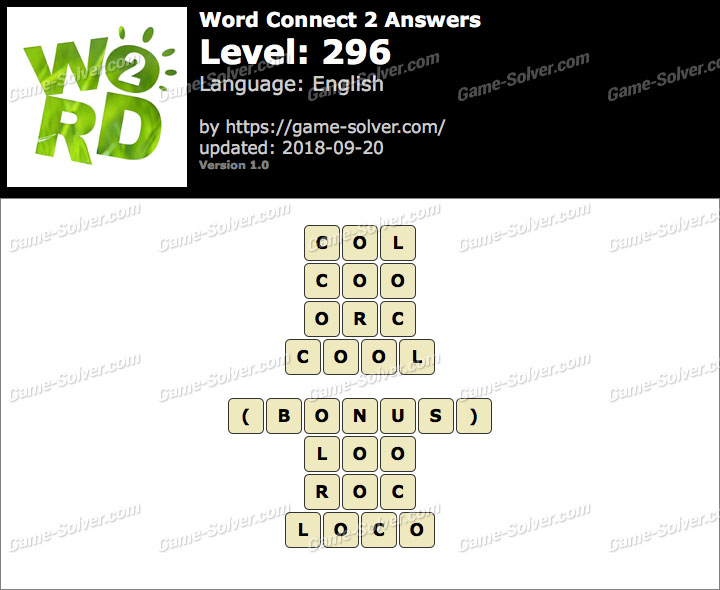 Word Connect 2 Level 296 Answers