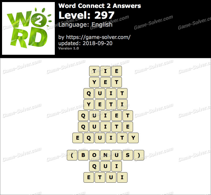 Word Connect 2 Level 297 Answers