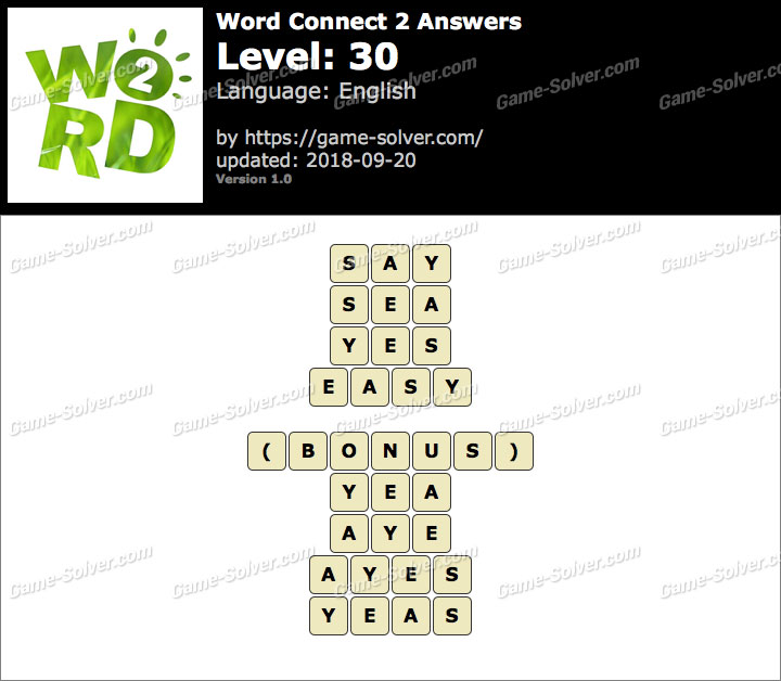 Word Connect 2 Level 30 Answers