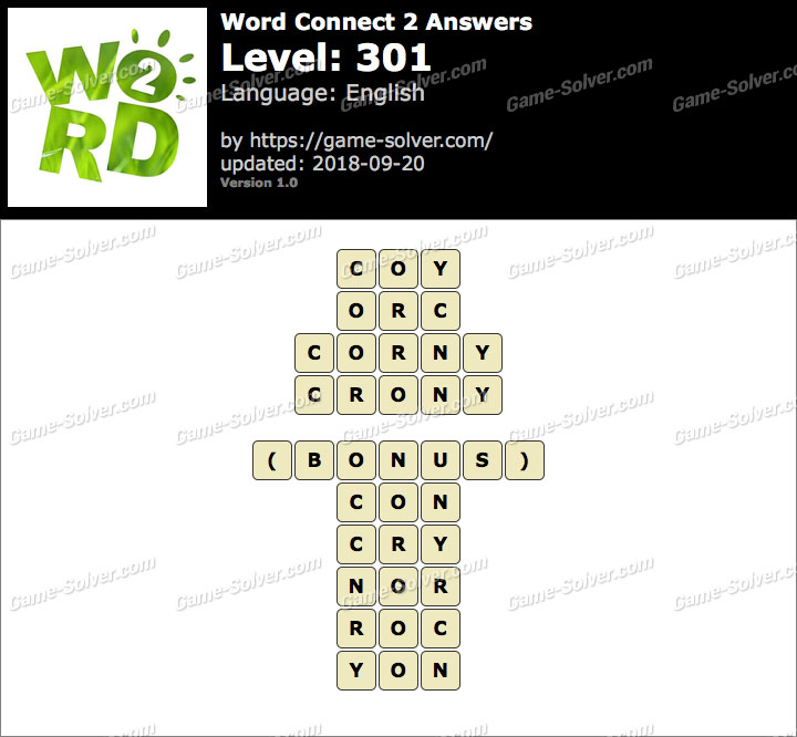 Word Connect 2 Level 301 Answers