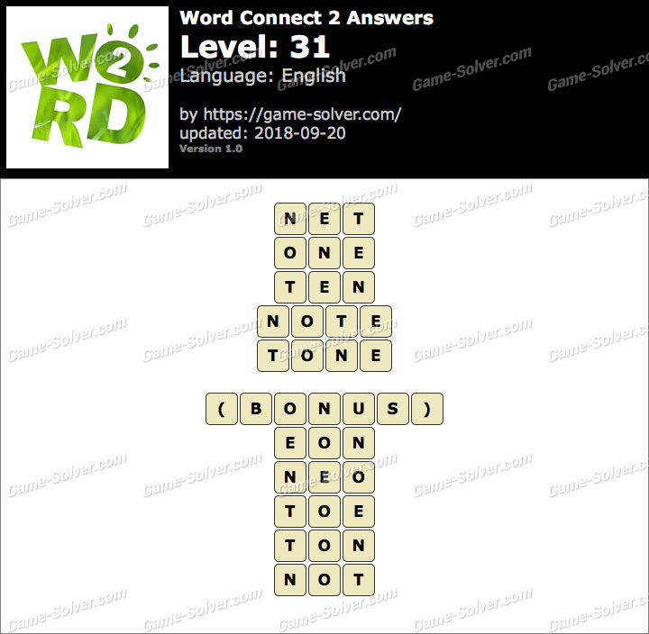 Word Connect 2 Level 31 Answers