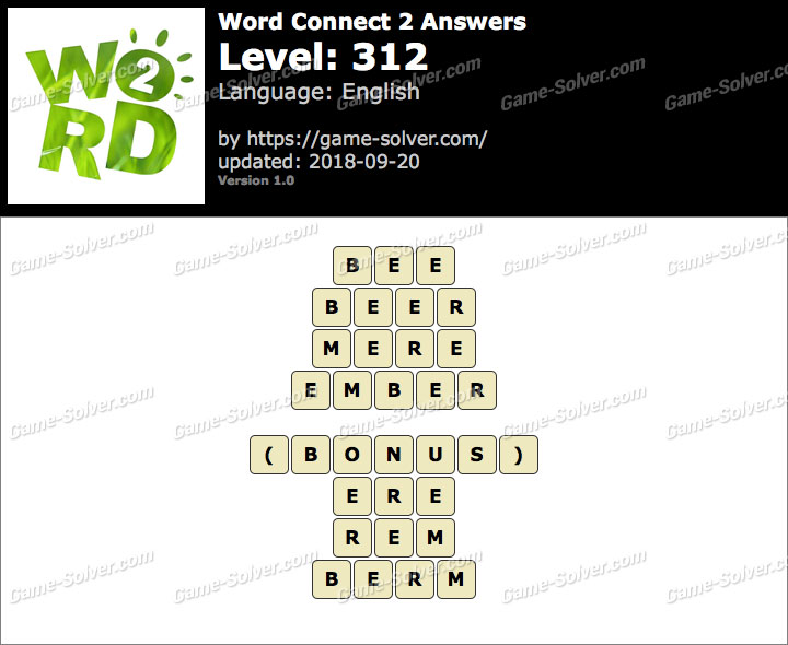 Word Connect 2 Level 312 Answers