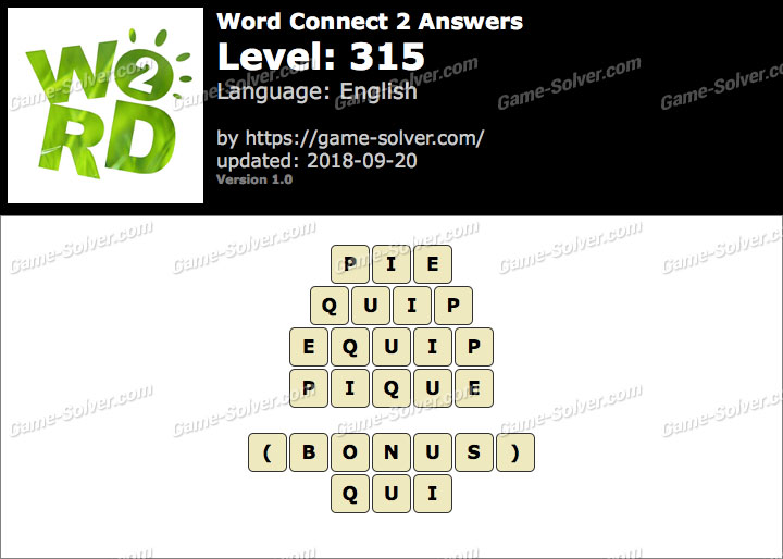 Word Connect 2 Level 315 Answers