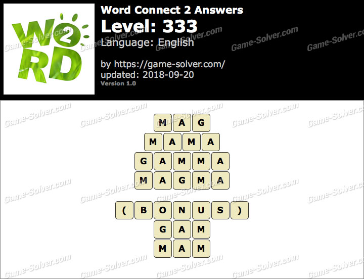 Word Connect 2 Level 333 Answers