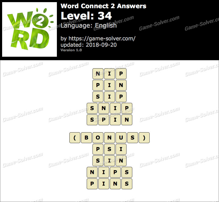 Word Connect 2 Level 34 Answers