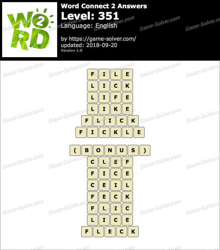 Word Connect 2 Level 351 Answers