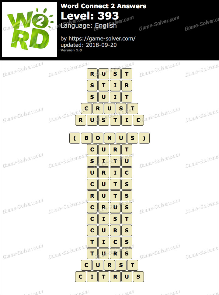 Word Connect 2 Level 393 Answers