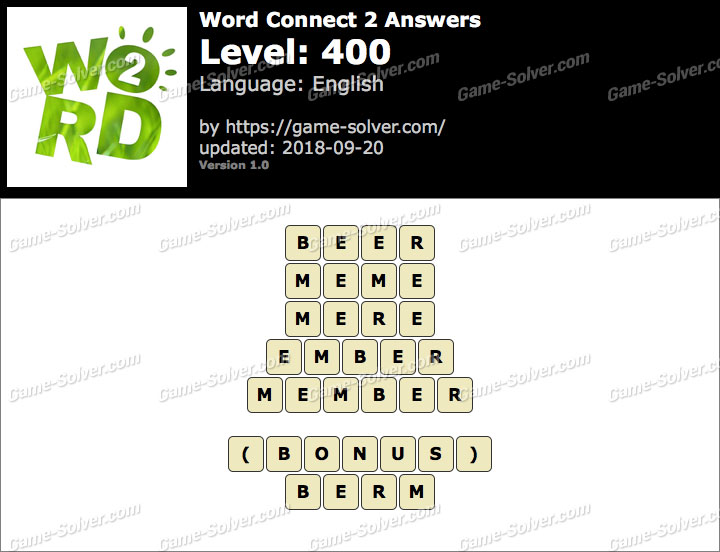 Word Connect 2 Level 400 Answers