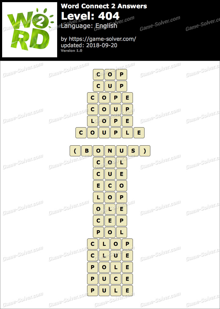 Word Connect 2 Level 404 Answers