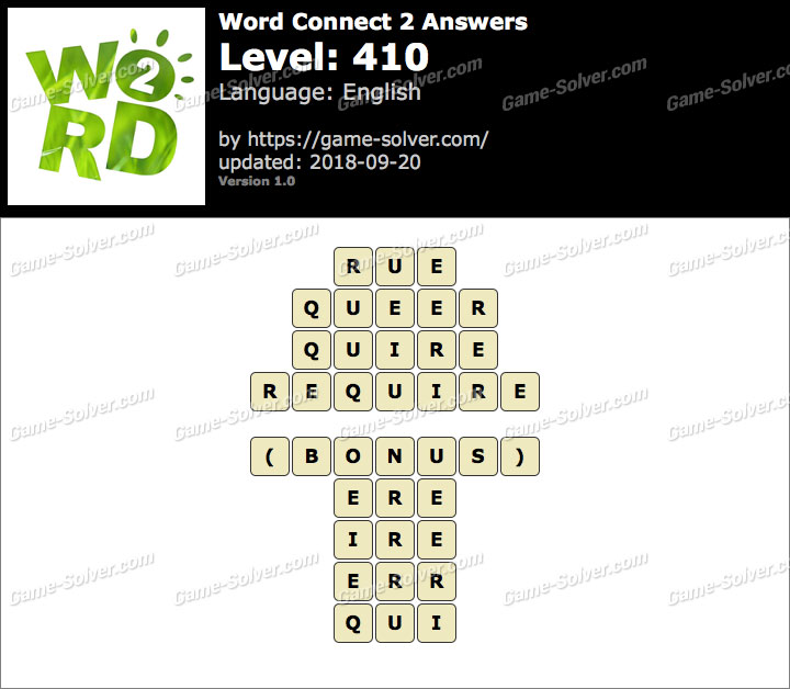 Word Connect 2 Level 410 Answers