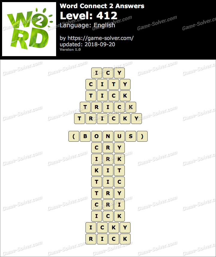 Word Connect 2 Level 412 Answers