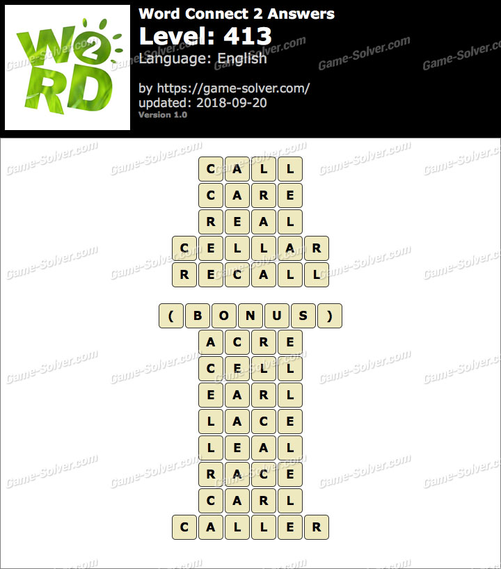 Word Connect 2 Level 413 Answers