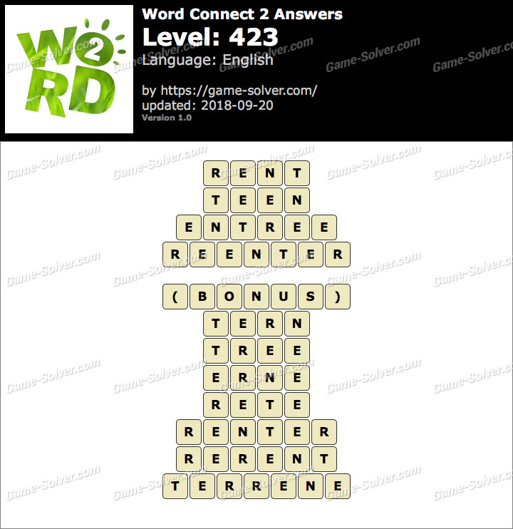 Word Connect 2 Level 423 Answers