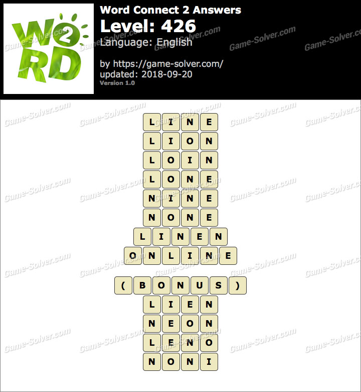 Word Connect 2 Level 426 Answers