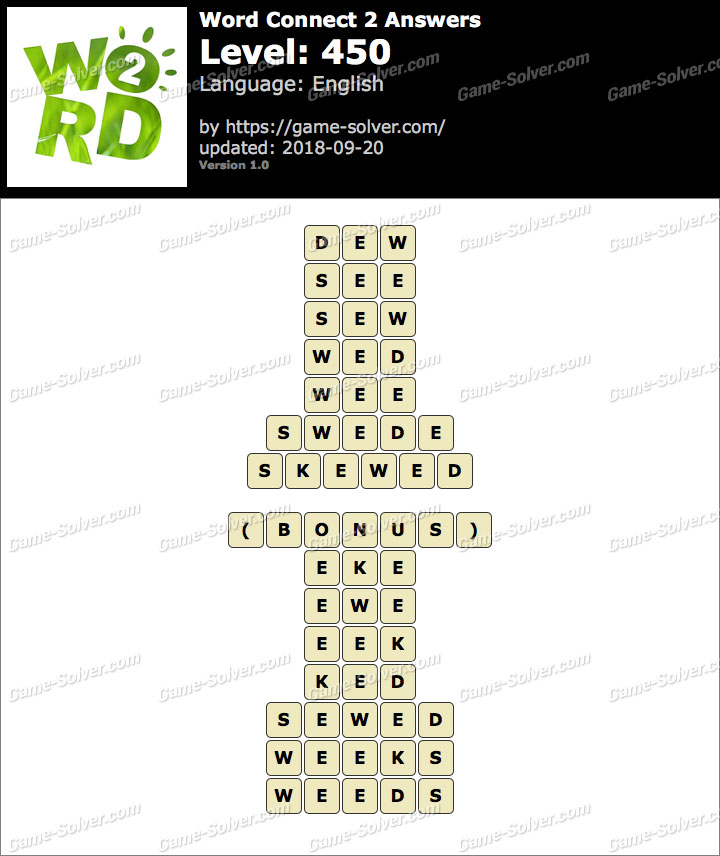 Word Connect 2 Level 450 Answers