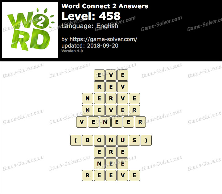 Word Connect 2 Level 458 Answers