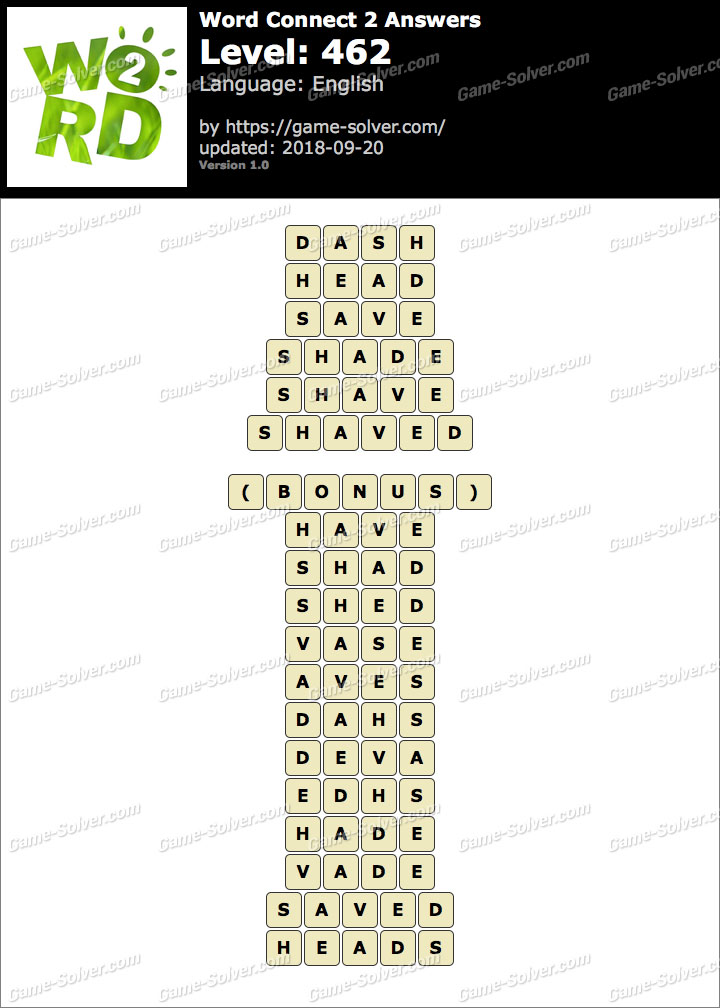 Word Connect 2 Level 462 Answers